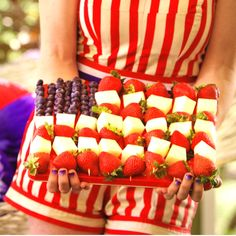 USA! USA! Get carried away with these adorable blueberry, strawberry and melon skewers.
