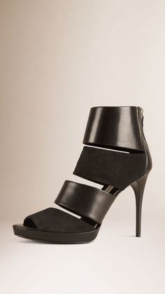 Multi-strap Leather and Suede Ankle Boots