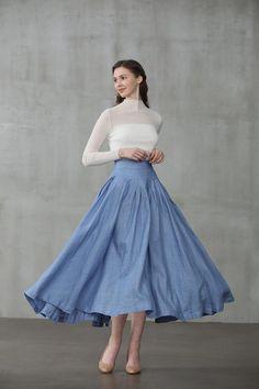 Linen skirt in smoky blue/silver gray midi skirt skater Linen Shirt Dress, Linen Skirt, Pleated Skirt, Midi Skirt, Skater Skirts, Audrey Hepburn, Grace Kelly, Circle Skirt Outfits, Princess Line Dress
