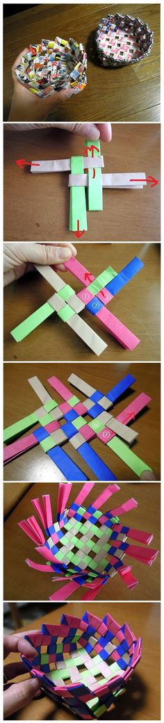 How to make a basket with a flyer - How to make Paper Basket Best Picture For DIY decorating ideas For Your Taste You are looking for - Fun Crafts, Diy And Crafts, Crafts For Kids, Arts And Crafts, Origami Paper Art, Diy Paper, Paper Weaving, Newspaper Crafts, Paper Basket