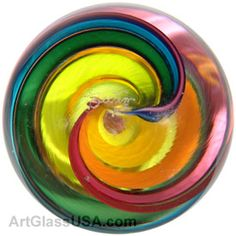 Rainbow ribbon marble by Geoffrey Beetem Rainbow Ribbon, Rainbow Colors, Marbles, Paper Weights, Losing Me, Handmade Art, Swirls, All The Colors, Vases