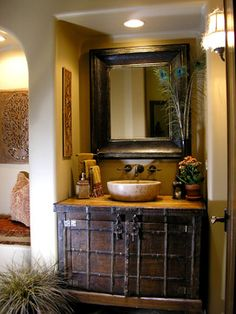 Transitional Comfort traditional powder room