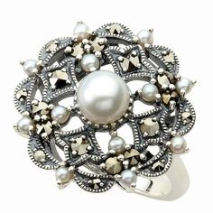 pearl ring | Gemstone Ring – Marcasite and Freshwater Pearl Ring : Jewelry ...