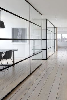 partitioning black framed windows