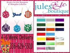Custom Acrylic Cut Out Monograms  Friend us on Facebook:  etcboutique asheboro