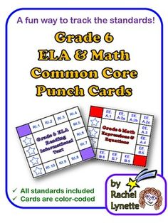 Common Core Punch Cards for Grade 6: All Standards Included. Fun and easy way to track the standards. $