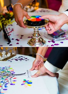 Fingerprint Tree: Wedding Guestbook Alternative- this would look cool with different shades of green.