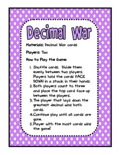 Here's a set of cards and directions to play decimal war.