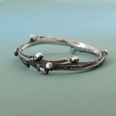 Sterling Silver Twig Ring  Live Oak by esdesigns on Etsy