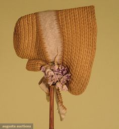 Augusta Auctions, November, 2007 -Tasha Tudor Historic Costume Collection, Lot 153: Fancy Straw Poke Bonnet, 1840s