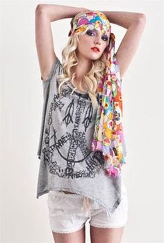Lauren Moshi Flower Happy Peace Drape Tee #Hippie #FlowerPower #Vintage #Retro