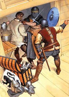 French Army - Naval Warfare, 1337-1415: • Jean de Béthencourt, c. 1402  • Basque sailor, c. 1360  • Castilian naval captain