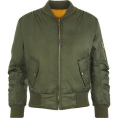 Lain Zip Bomber Jacket ($30) ❤ liked on Polyvore featuring outerwear, jackets, coats, bomber jacket, coats & jackets, green, faux jacket, cropped jacket, green flight jacket and button jacket