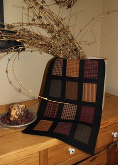 Primitive windows quilted table runner by ThePrimitivePear on Etsy