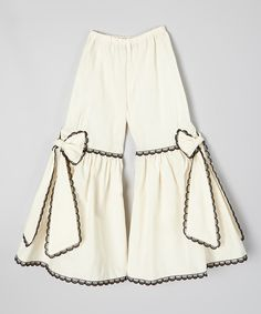 Look at this Ivory & Black Scalloped-Lace Pants - Infant, Toddler & Girls on #zulily today!