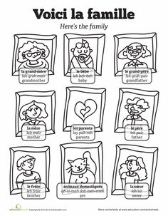 Worksheets: Family in French. Great site for worksheets.