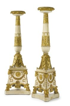 Charles Percier and Pierre François-Léonard Fontaine (after) A pair of large Empire torchères, after a design of Charles Percier and Pierre François-Léonard Fontaine, Paris, date circa 1810 Parcel-gilt white painted and carved Height 235 cm, width 76.5 cm, depth 76.5 cm.