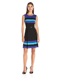 Calvin Klein Womens Stripe Belted Fit and Flare Dress BlackMulti 6 *** Visit the image link more details.