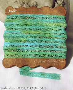 Jade  lace  hand dyed hand painted lace trims 9 mm by NinaNinocska, $5.30