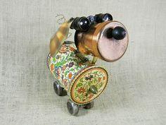 SALE  Assemblage Sculpture  MURIEL  robot dog  by reclaim2fame, $135.00