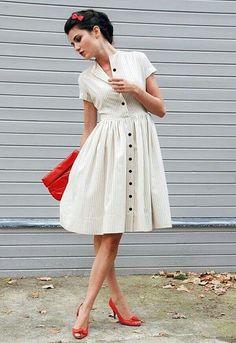 Купить ретро белое платье
