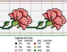 fleur - flower - oeillet - point de croix - cross stitch - Blog : http://broderiemimie44.canalblog.com/