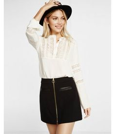 Lace Half Placket Band Collar Blouse White Women's X Large