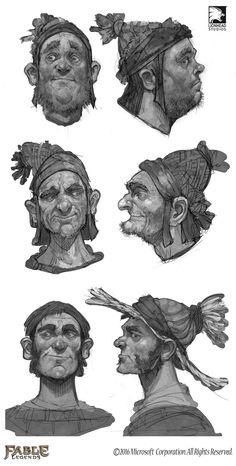 Face Sketches for modelling, Fable Legends, Mike McCarthy on ArtStation at https://www.artstation.com/artwork/aLJxX