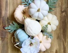 Assorted pumpkins, mix & match neutral fall decor, assortment of pumpkins for centerpiece, elegant autumn decor. Mint, peach, white and gold,  farmhouse decor, stuffed pumpkins, Fall Decor - Halloween Decor, front door, home decor, diy decor, cricut projects , thanksgiving decor, living room, dining room, halloween, autumn, fall, halloween, family room, bathroom, kitchen, bedroom #afflink