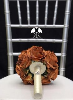 BURNT ORANGE Bridesmaid Bouquet With BROOCH Handle. Brooch Bridesmaids Bouquet. Burnt Orange Wedding. Quinceanera. Sweet 16. Pick Rose Color Bouquet measures approximately 8.5 wide and 11 in height.  This dreamy Orange Centerpieces, Wedding Centerpieces, Wedding Decorations, Silver Centerpiece, Bling Wedding, Wedding Gifts, Plum Wedding, Peacock Wedding, Chic Wedding