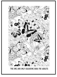 Free printable grown up colouring page with butterflies and flowers. Beautiful detailed colouring page printable