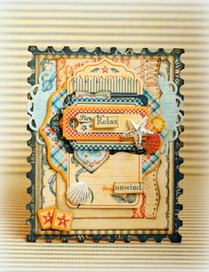 """This is a card I  made with the amazing """"By the Sea"""" collection. By: @Romy-Naïma Tousignant Veul"""