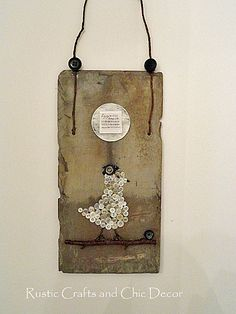button craft on a roofing tile, crafts, repurposing upcycling