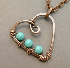 wire wrapped heart jewelry