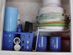 user a shower caddy to organize your cabinets