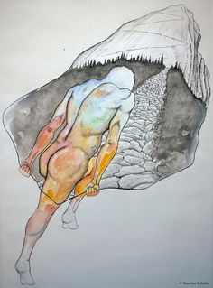 """""""Nosič"""", watercolors and ink on paper."""