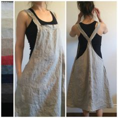 Linen Jumper Dress Apron Dress Overall Dress by MissesCountry More