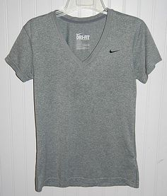 NIKE Women's Small Dri Fit V Neck Short Sleeve Shirt Gray #Nike #ShirtsTops