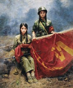 Da Zhong Zhang is a chinese artist specially known for his beatiful oil paintings featuring girls from the Red Guard, rem… Chinese Propaganda Posters, Propaganda Art, Military Women, Military Art, Mao Zedong, Communist Propaganda, Military Drawings, Vietnam, Red Army