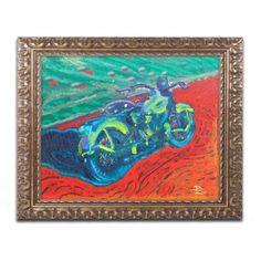 Trademark Fine Art Expressionist Bike Canvas Art by Lowell S.V. Devin, Gold Ornate Frame, Size: 11 x 14