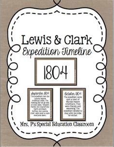 Lewis & Clark Expedition TimelineObjective: Using task cards, students will be able to analyze and sort events from the Lewis and Clark Expedition in the correct order.12 events that span 3 years.**Used in a Center-Based Special Education Classroom for Grades 6-8**Follow Me on Facebook: Mrs.