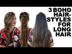 3 boho χτενίσματα για μακριά μαλλιά | i Mikri Ollandeza - YouTube Boho Hairstyles, Youtubers, Dreadlocks, Long Hair Styles, Colour, Color, Long Hair Hairdos, Long Haircuts, Dreads