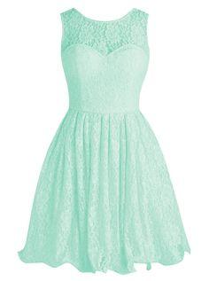 Tideclothes Short Lace Bridesmaid Dress Cute Bowtie Prom Evening Dress Mint US4