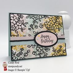 Happy Birthday card made with Petal Passion paper and the Southern Serenade stamp set. Colors are Powder Pink, Pool Party and Crushed Curry. Stampin' Up! Birthday Diy, Happy Birthday Cards, Diy Paper, Paper Crafts, Flower Images, Homemade Cards, Stampin Up Cards, Cardmaking, Handmade Gifts