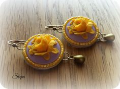 Hand embroidered shabby chic earrings