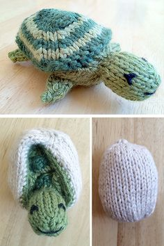 Free Knitting Pattern for Turtle and Egg Flip Toy - This turtle comes out of its shell and slips back in to become an egg with a surprise. Designed by Susan B. Anderson. Pictured project by linnetknits