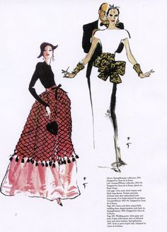 Rene Gruau's illustrations of Oscar de la Renta for Balmain, 1993-1994.