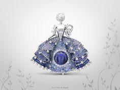 """Van Cleef & Arpels Fée des Etoiles clip from the new High Jewelry collection """"Peau d'Âne raconté par Van Cleef & Arpels"""" - white gold, round, baguette-cut and rose-cut diamonds, baguette-cut sapphires, round blue spinels, round blue and mauve tanzanites and sapphires and one cabochon-cut tanzanite of 11.25 carats - on view  at the Biennale des Antiquaires in Paris #BiennaledesAntiquaires #VCApeaudane http://goo.gl/Mf1om0"""