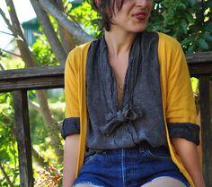 refashion thrift store tie neck blouse