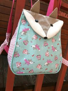 Sac à dos maternelle renard/ animaux de la foret                                                                                                                                                                                 Plus Baby Backpack, Toddler Backpack, Little Fashion, Kids Fashion, Old Lady Shoes, Fox Bag, Diy Sac, Back Bag, Handmade Purses
